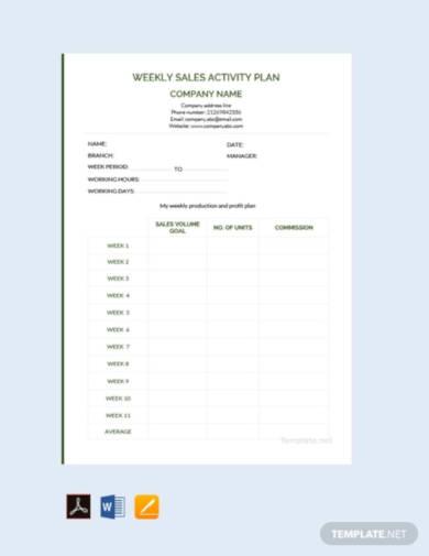 free weekly sales activity plan