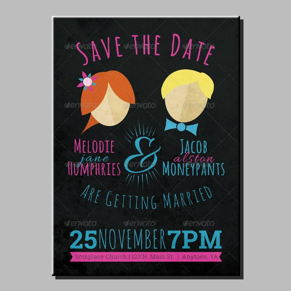 fun wedding announcement card example