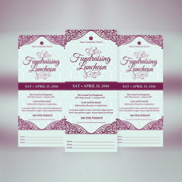 fundraising luncheon event ticket design
