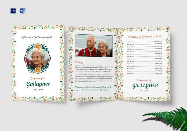 funeral a4 bi fold brochure template