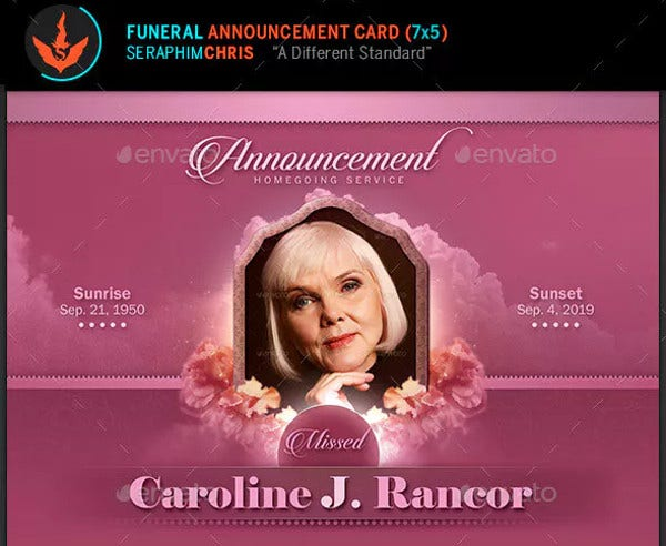 Funeral Announcement Card