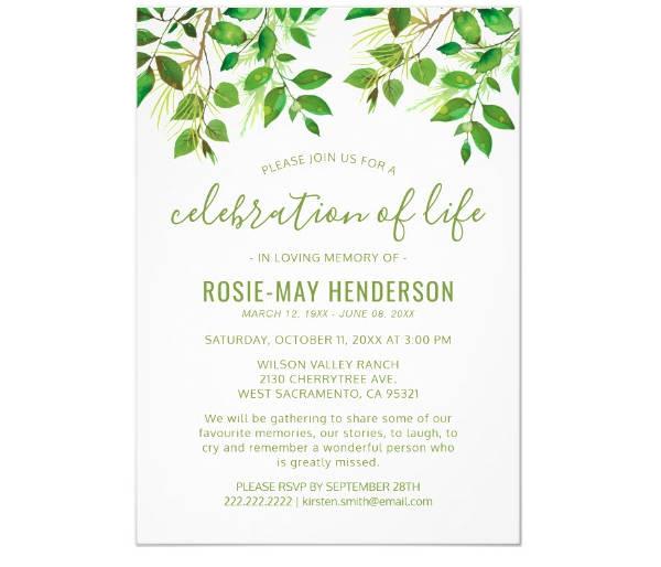 funeral memorial invitation