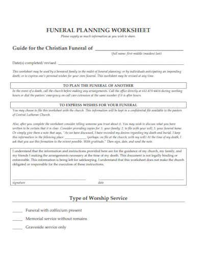funeral planning worksheet template