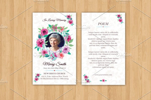 funeral prayer card template in doc