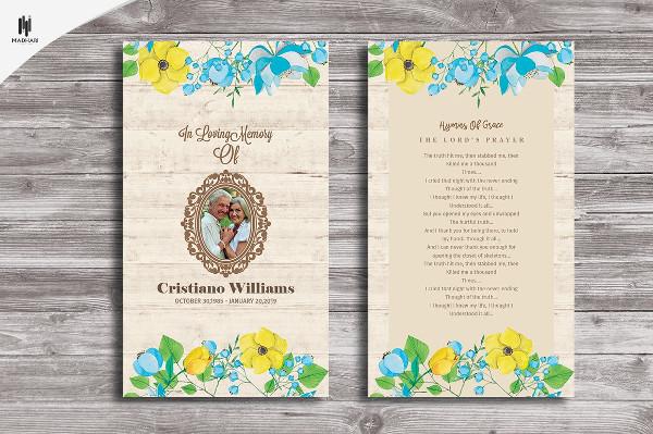 funeral prayer card designs