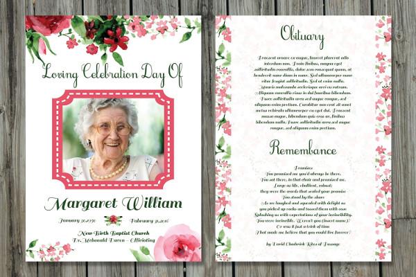 funeral program card template