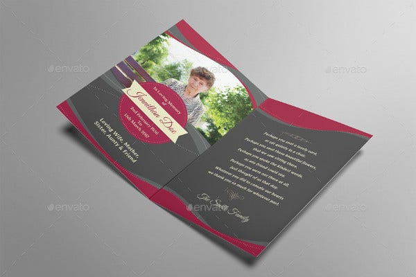 funeral programe thank you card