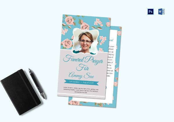 funeral request prayer card template