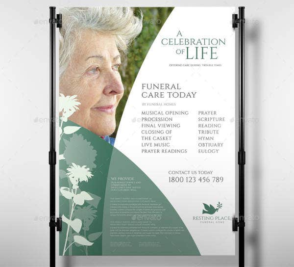 Funeral Service Poster Template in PSD