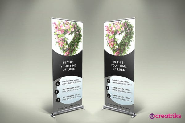 funeral services roll up banner