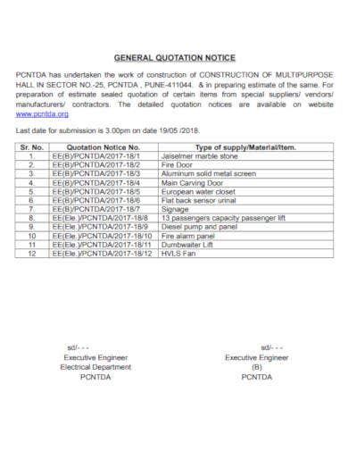 general quotation notice sample