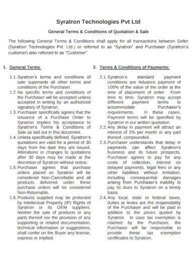 general terms and conditions of quotations
