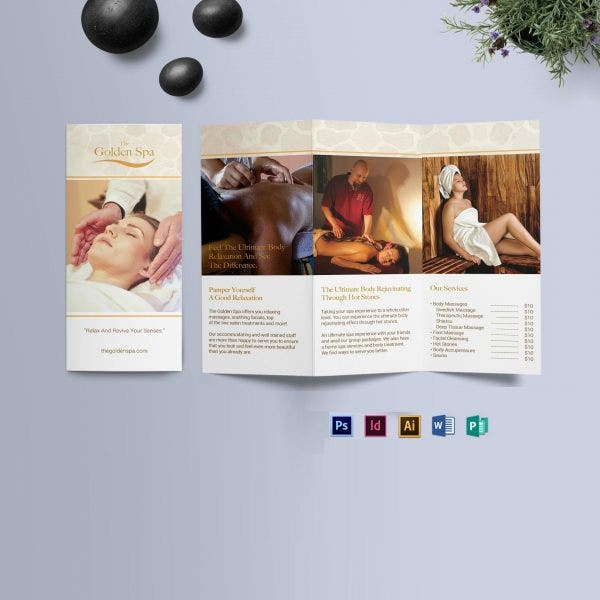 Golden Spa Trifold Brochure Template