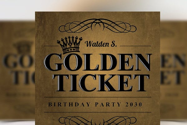 golden ticket birthday invitation