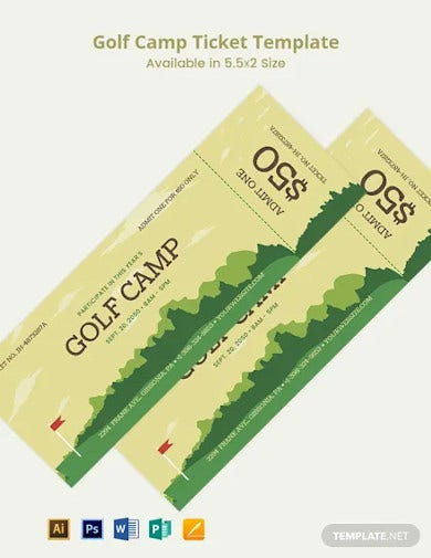 golf camp ticket template