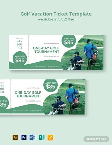golf vacation ticket template