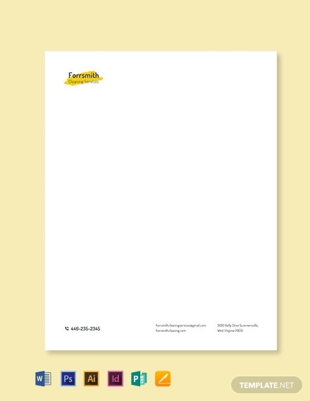 good cleaning services letterhead design