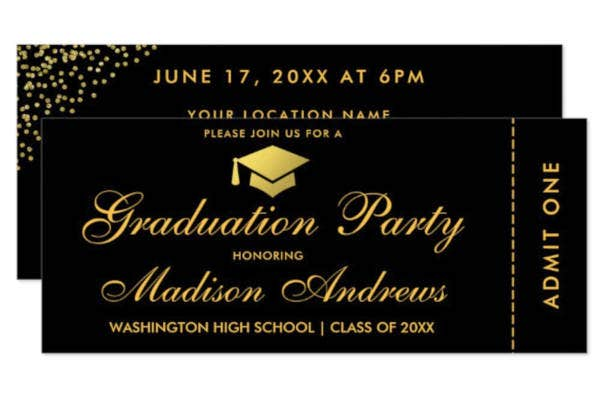 Graduation Party Gold Ticket