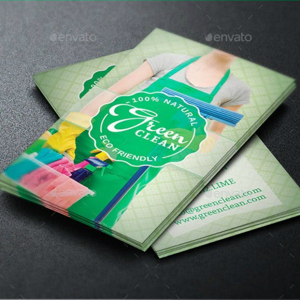green cleaning business card layout