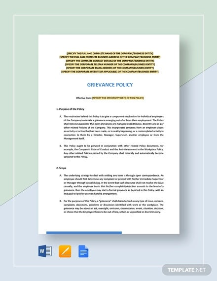 grievance policy template
