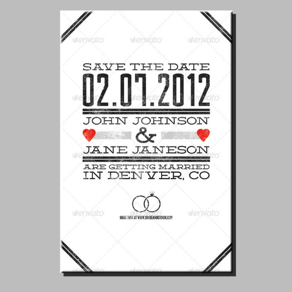 grunge wedding announcement card design