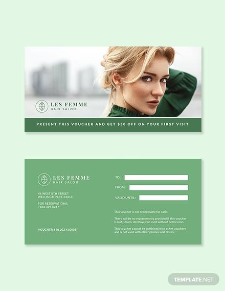 hair salon gift voucher format