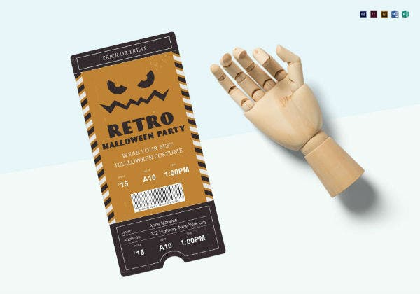 halloween party retro admission ticket template