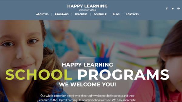 happy learning – user friendly wordpress theme