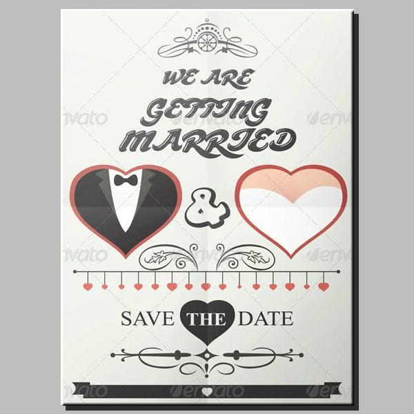 hearts minimal wedding poster design