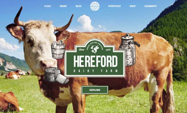 hereford – 5 types header style wordpress theme