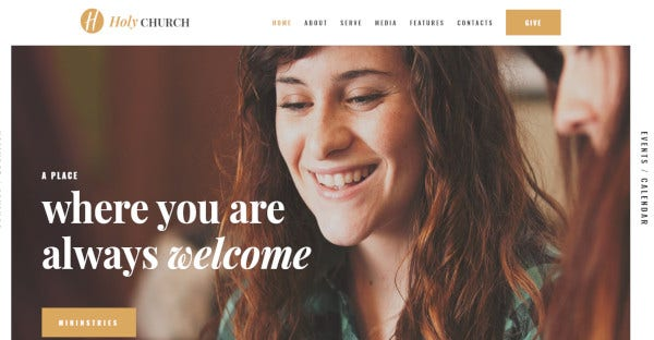 holy church parallax effect wordpress theme