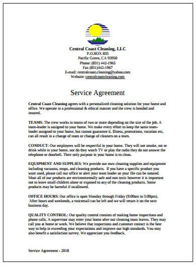 home cleaning services agreement