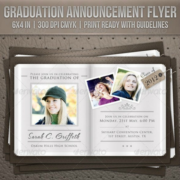 Horizontal Booklet Graduation Announcement Layout