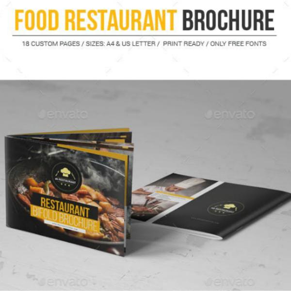 horizontal food restaurant brochure template