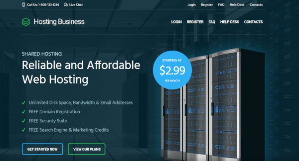 hosting business plugin friendly wordpress theme