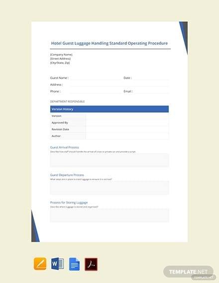hotel guest luggage handling standard operating procedure template 1
