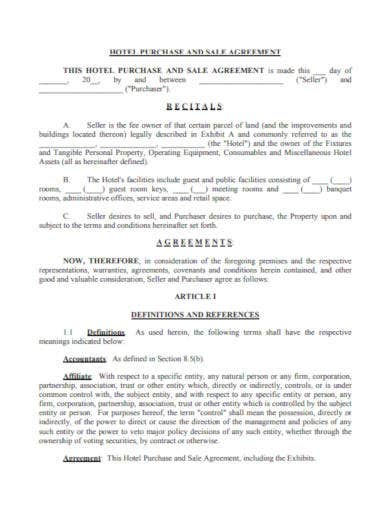 hotel purchase and sale agreement
