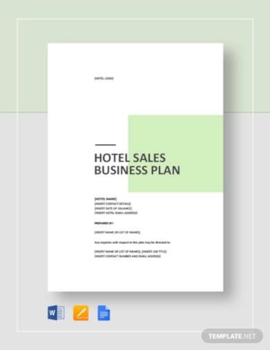 hotel sales business plan