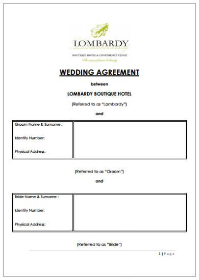 hotel wedding event contract agreement template