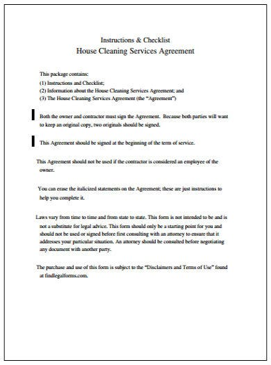 Best Cleaning Service Agreement Templates Pdf Free
