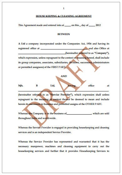 house keeping and cleaning service agreement