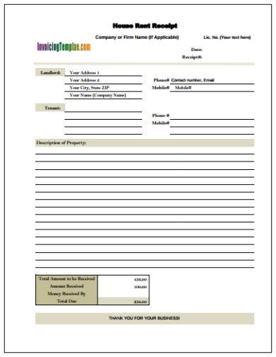 house rent receipt template in pdf