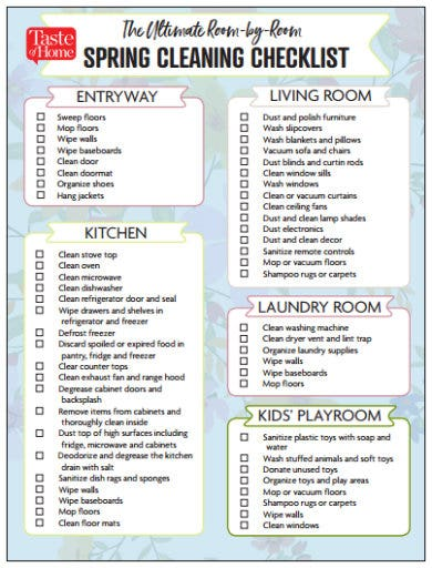 house spring cleaning checklist template