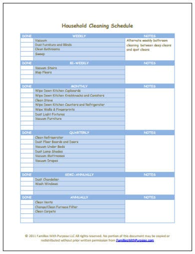 household cleaning schedule template