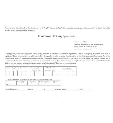household survey questionnaire