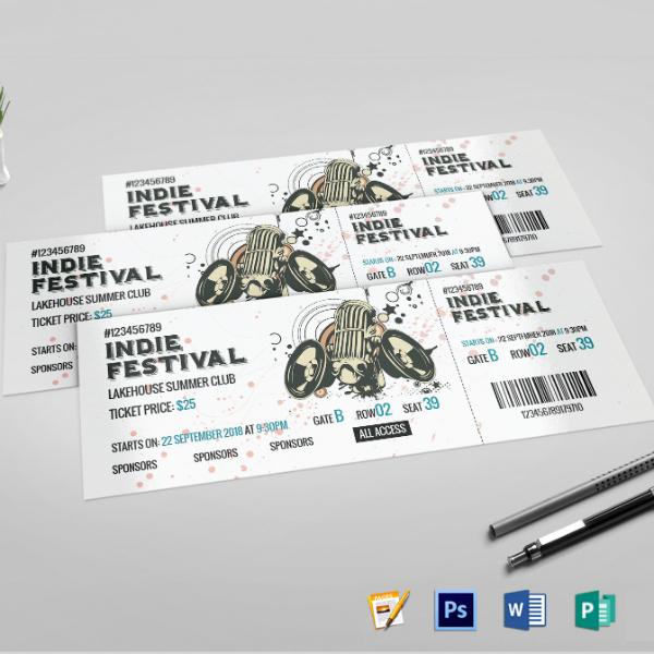 indie festival concert ticket sample