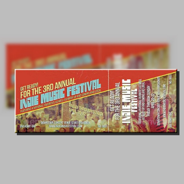 Indie Music Festival Ticket Template