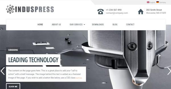 induspress drag and drop wordpress theme