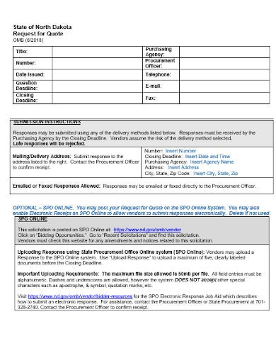informal request for quotation template