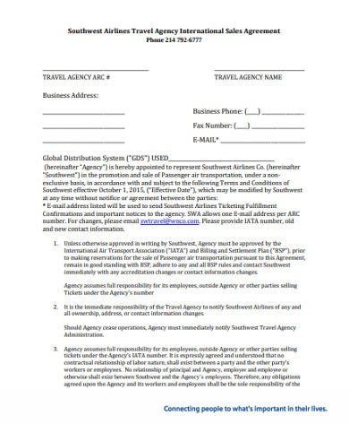 international travel sales agency agreement